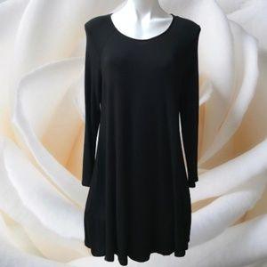 Lush L/S Fit Flare Stretch Swing Black Dress L EUC